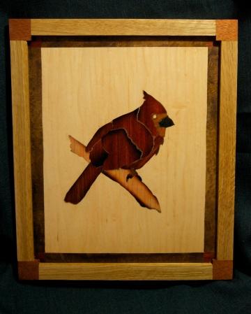 Cardinal panel, oak-mahogany frame