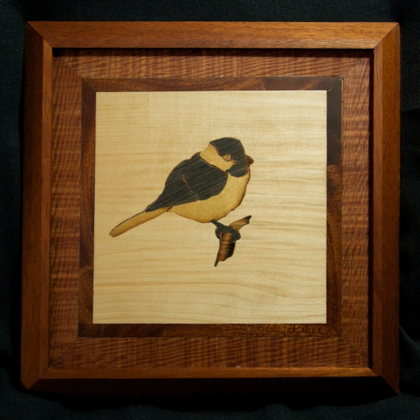 Chickadee panel, mahogany frame